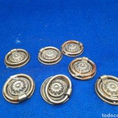 Antigüedades: 7 TIRADORES ANTIGUOS DE BRONCE. Lote 293571443
