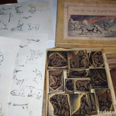 Antigüedades: ANTIGUO JUEGO TAMPONES CAZA DEL OSO EN EL POLO ARTICO. Lote 293952988