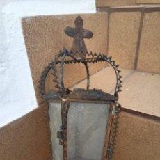 Antigüedades: MUY ANTIGUO FAROL DE FORJA, SEGURAMENTE DE NAZARENO. Lote 294142648