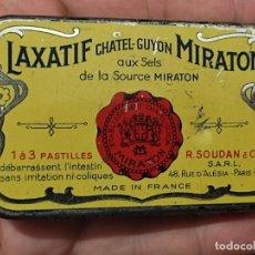 Antigüedades: LAXATIF CHATEL MIRATON FARMACIA MEDICAMENTO CAJA VACIA LATA 8 X 5 X 2 CMS. Lote 295976508