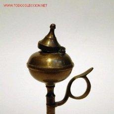 Antigüedades: LAMPARA DE ACEITE EN LATÓN DORADO - S. XIX . Lote 18488188