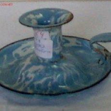 Antigüedades: PALMATORIA ESMALTADA AZUL Y BLANCA. Lote 20527090