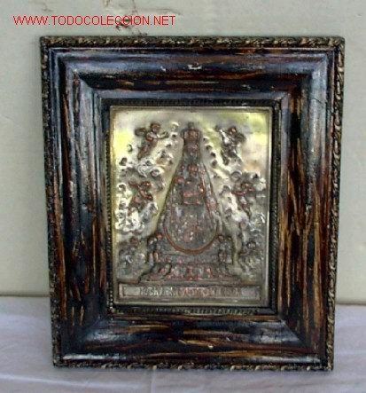 VIRGEN DE BEGOÑA .. DE COBRE CON BAÑO DE PLATA .. BILBAO (Antigüedades - Hogar y Decoración - Portafotos Antiguos)