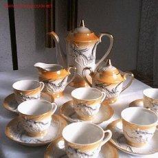 Antigüedades: JUEGO DE CAFE PORCELANA FINA JAPONESA EN RELIEVE. Lote 27261839