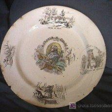 Antigüedades: PLATO DE CERAMICA PICKMAN SIGLO XIX. CRISTOBAL COLON. Lote 3416641