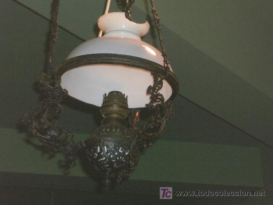 Antigüedades: PRECIOSO QUINQUE, ORIGINAL, FORJA Y OPALINA. - Foto 2 - 25193146