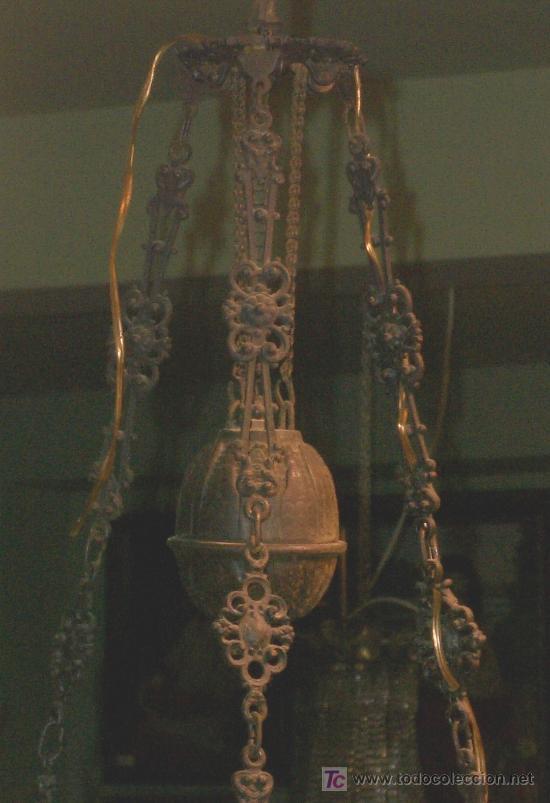 Antigüedades: PRECIOSO QUINQUE, ORIGINAL, FORJA Y OPALINA. - Foto 3 - 25193146