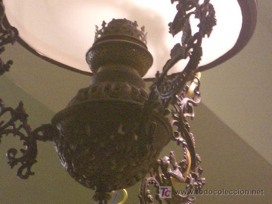 Antigüedades: PRECIOSO QUINQUE, ORIGINAL, FORJA Y OPALINA. - Foto 6 - 25193146