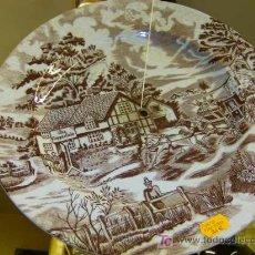 Antigüedades: ANTIGUO PLATO DE LOZA QUE FORMO PARTE DE UN FRUTERO CONICO.. Lote 8724153