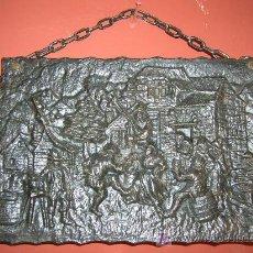 Antigüedades: CUADRO ANTIGUO DE HIERRO PLACA DE HIERRO FUNDIDO MUY BONITA SIGLO XIX. Lote 27247037