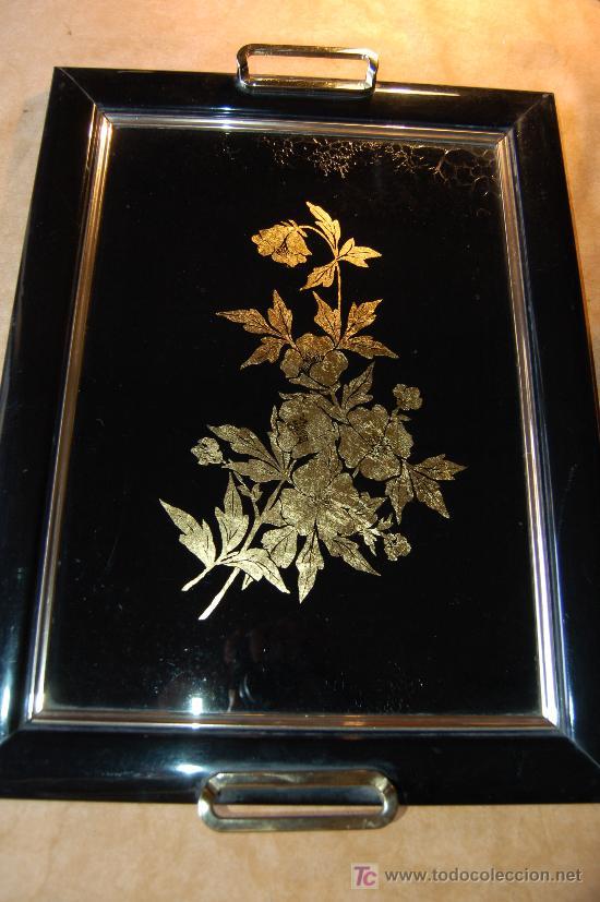 Bandeja en madera y cristal pintado y dorado comprar - Bandejas de cristal ...