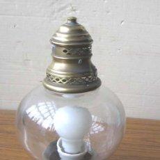 Antigüedades: LAMPARA FAROL DE MESA DE LATÓN. Lote 16594519