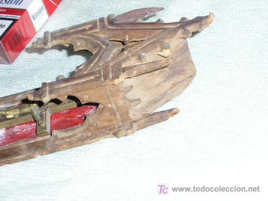 Antigüedades: HORNACINA - CAPILLA TALLADA EN MADERA * MUY ANTIGUA * - Foto 3 - 22018780