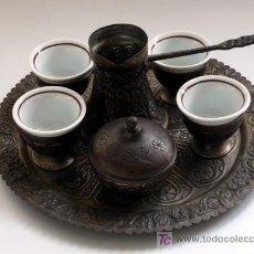 Antigüedades: JUEGO DE CAFÉ - PARA ELABORAR CAFÉ A LA MANERA TURCA. Lote 27366887