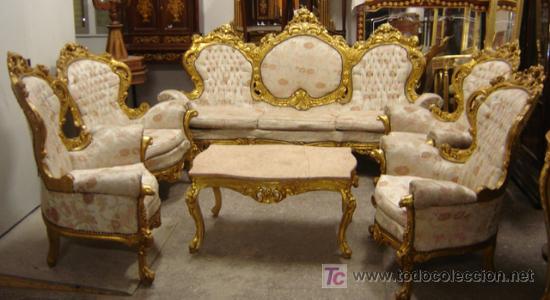 Espectacular silleria luis xv con pan de oro comprar for Muebles luis 15