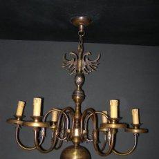 Antigüedades: LAMPARA HOLANDESA 6 BRAZOS CON ADORNO DE AGUILA BICEFALO. Lote 4542436