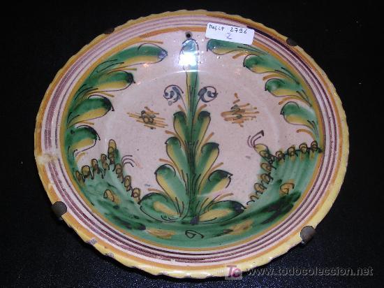 PLATO PUENTE DEL ARZOBISPO C.A. 1800 APROX, SERIE DEL PINO, 22'5 CM DE DIAMETRO, (Antigüedades - Porcelanas y Cerámicas - Puente del Arzobispo )