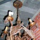 Antigüedades: LÁMPARA HIERRO FORJADO. ESTILO RENACIMIENTO REALIZADO SOBRE 1920. PROCEDE DE BARCELONA. EMBALAJE. Lote 27460305