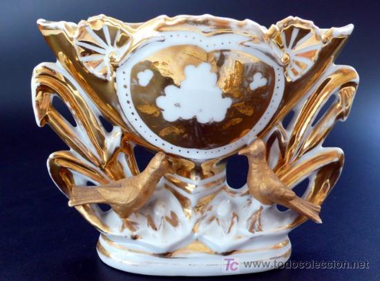 JARRON DE PORCELANA VIEJO PARÍS - MEDIADOS DEL S. XIX (Antigüedades - Porcelana y Cerámica - Francesa - Limoges)