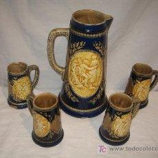 Antigüedades: JARRA DE AGUA CON CUATRO VASOS. Lote 4856003