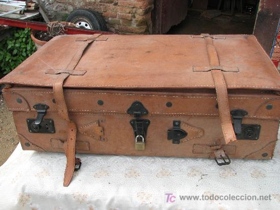 Antigua maleta de viaje de cuero cosida a mano comprar for Maletas antiguas online