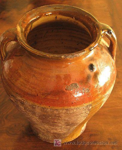 VASIJA DE BARRO ESMALTADO. ANTIGUA (Antigüedades - Porcelanas y Cerámicas - Otras)