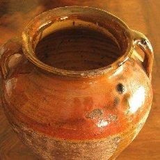 Antigüedades: VASIJA DE BARRO ESMALTADO. ANTIGUA. Lote 26991596