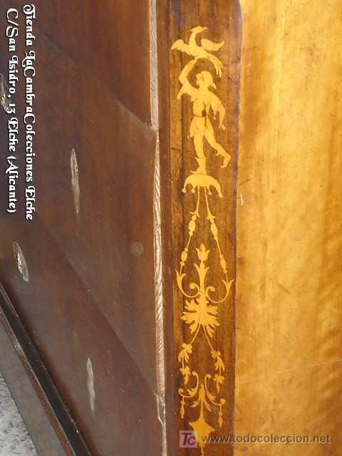Antigüedades: COMODA EN NOGAL, CAOBA Y MARQUETERIA EN LIMONCILLO - Foto 8 - 26501631