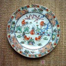 Antigüedades: ANTIGUO PLATO DE PORCELANA CHINA. 25 CM. MARCAS CHINAS EN LA BASE.. Lote 53322620