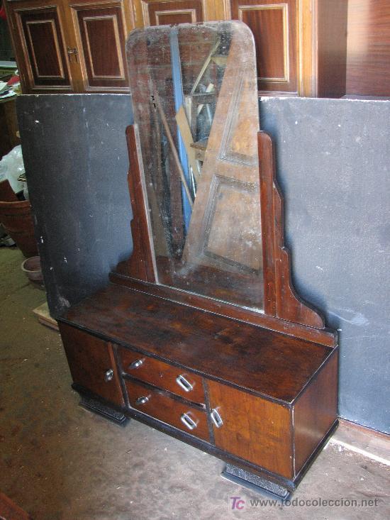 TOCADOR DE NOGAL ART DECO POR RESTAURAR (Antigüedades - Muebles - Cómodas Antiguas)