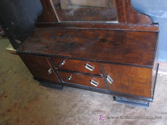 Antigüedades: Tocador de nogal Art Deco por restaurar - Foto 2 - 26422342