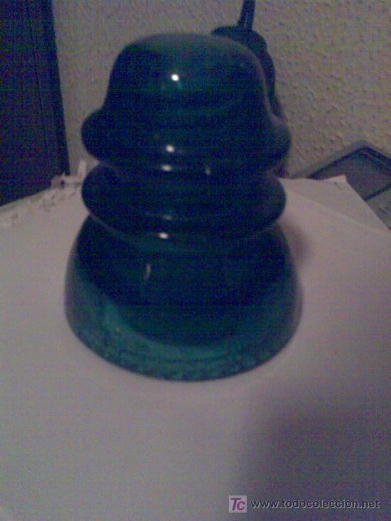Antigüedades: Antiguo aislante eléctrico de vidrio de los postes de teléfonos y telégrafos. - Foto 3 - 23316424