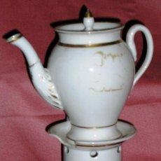 Antigüedades: TETERA CON HORNILLO ALCHOOL, BUENAS NOCHES PORCELANA VIEJO PARIS. .. Lote 26693179