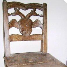 Antigüedades: SILLA CON ESCUDO DE LOS AUSTRIAS, AGUILA BICÉFALAS CORONADAS SIGLO.XVII. MD: 86 CM. ENVÍO PAGO. Lote 56253777