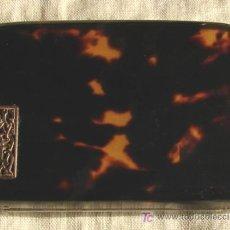 Antigüedades: CAJA ANTIGUA DE CAREY, CON PLACA EN ORO; MUY FINA Y COLECCIONABLE!!. Lote 27581805