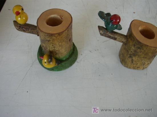pareja de adornos de madera con pajaritos pinta Comprar en