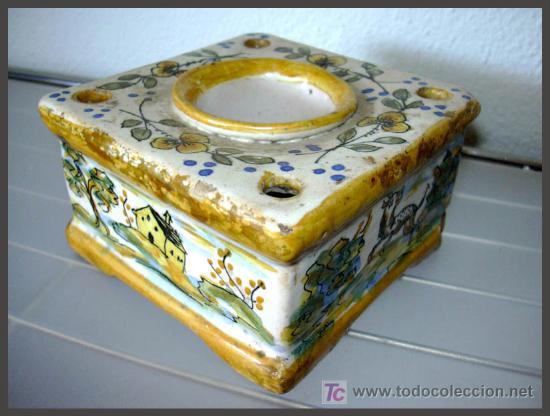 *** ANTIGUO TINTERO CERAMICA TALAVERA *** (Antigüedades - Porcelanas y Cerámicas - Talavera)