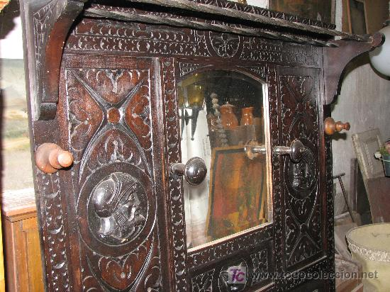 Antigüedades: Bonito paragüero- sombrerero de madera de cetil. - Foto 2 - 26267890