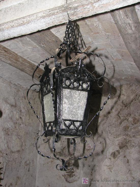 ANTIGUO FAROL DE HIERRO (Antigüedades - Iluminación - Faroles Antiguos)