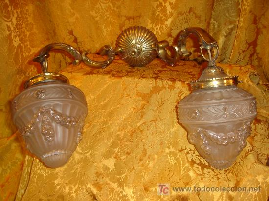 apliques de pared siglo xix en bronce con tulipas originales antigedades iluminacin apliques
