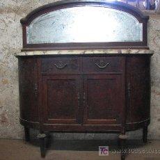 Antigüedades: ANTIGUO BUFET DE MADERA DE CAOBA CON MARMOL.. Lote 27086062