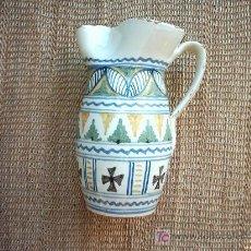 Antigüedades: ANTIGUA JARRA DE CERAMICA DE MALLORCA. DECORADA EN VERDE, OCRE, AZUL Y NEGRO. 21 CM. . Lote 27548879