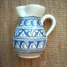 Antigüedades: VIEJA JARRA DE CERAMICA DE MALLORCA DECORADA EN AZUL. 19 CM. . Lote 26639810