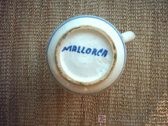 Antigüedades: VIEJA JARRA DE CERAMICA DE MALLORCA DECORADA EN AZUL. 19 cm. - Foto 2 - 26639810