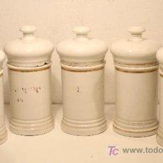 Antigüedades: LOTE DE 5 POTES DE FARMACIA ISABELINOS. S. XIX. Lote 22155771