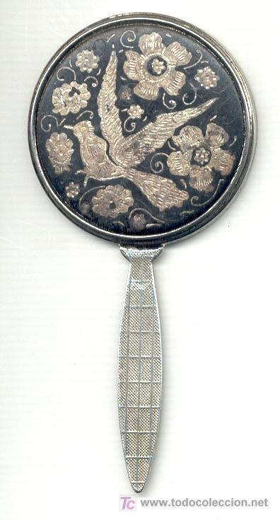 Antigüedades: ESPEJO DE MANO ANTIGUO. 11,6x5,7 cm. Ver el dorso en foto adicional. - Foto 2 - 26767816