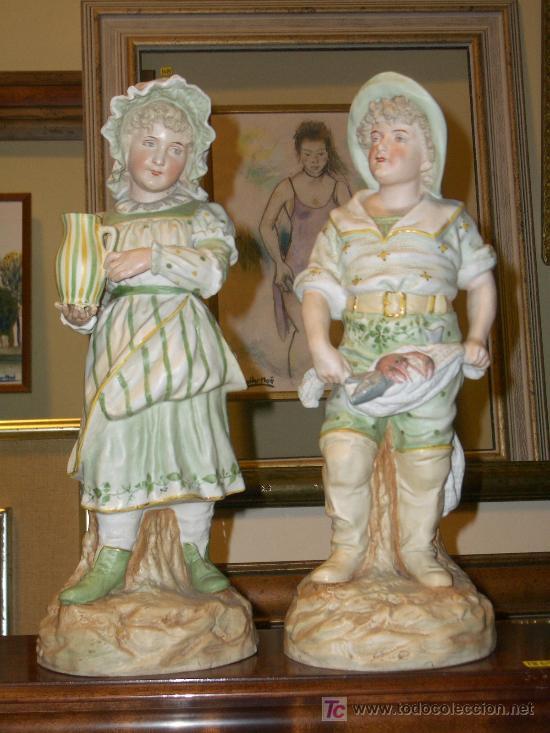 OFERTA SENSACIONAL PAREJA DE BISCUIT, PIEZAS DE COLECCIONISTA A PRECIO DE OCASION. ALTURA 37 CMS (Antigüedades - Porcelana y Cerámica - Alemana - Meissen)