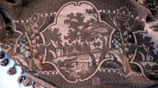 Antigüedades: CORTINERO DE TELA DE TAPICERÍA CON PAISAJES - S. XIX - Foto 3 - 26578834