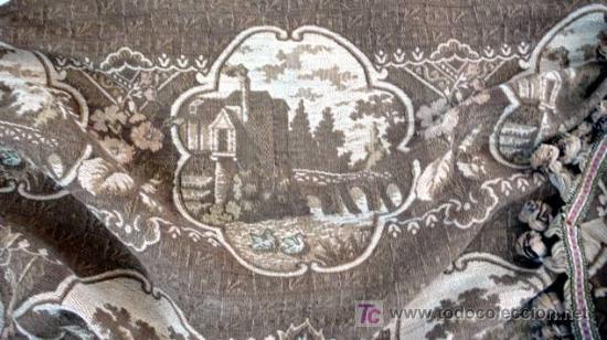 Antigüedades: CORTINERO DE TELA DE TAPICERÍA CON PAISAJES - S. XIX - Foto 4 - 26578834