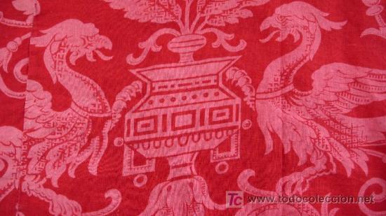 Antigüedades: BONITA TELA DE ALGODÓN ROJO ESTAMPADO - S. XIX - PARA RESTAURACIÓN O RECONSTRUCCIÓN - Foto 2 - 26694135